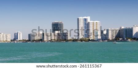 Panoramic view of the downtown Miami skyline, Florida, USA. - stock photo