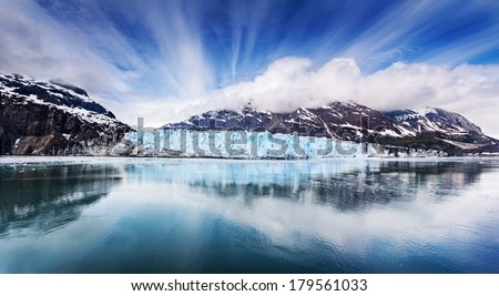 Panoramic view of the face of Margarie Glacier in Glacier Bay National Park, Alaska - stock photo