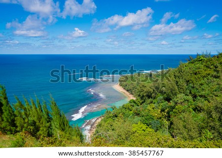 Panoramic view of the famous Kee Beach in Kauai, Hawaii, United States - stock photo