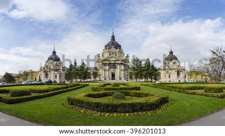Panoramic view of the famous Szechenyi thermal bath in Budapest, Hungary. - stock photo
