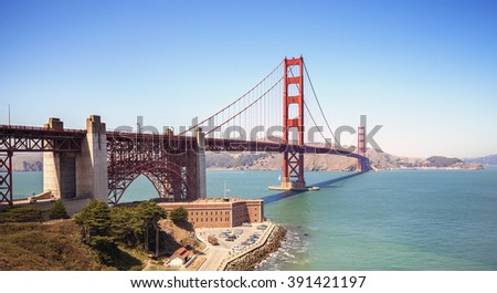 Panoramic view of the Golden Gate Bridge in San Francisco, USA. - stock photo