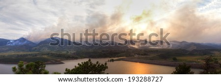 Panoramic View of the High Park Wildfire in the Colorado Rocky Mountains - stock photo
