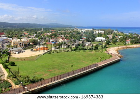 Panoramic view of the historic town of Falmouth, Jamaica. The photo has been taken from the observatory deck of a huge cruise ship, docked in the newly opened Port of Falmouth. - stock photo