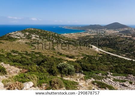 Panoramic view of the island of Antiparos, Greece - stock photo