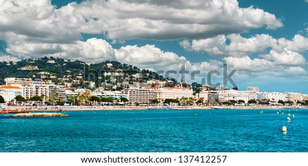 Panoramic view of the La Croisette. Cannes. France - stock photo
