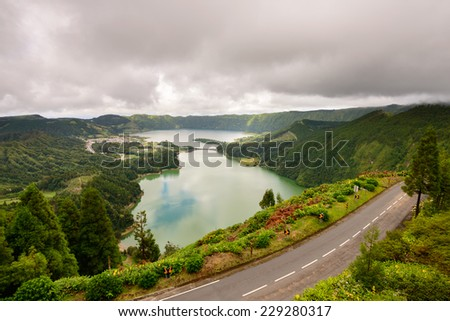 Panoramic view of the lake of Sete Cidades, Azores, Portugal. Viewpoint Vista do Rei at Sao Miguel. - stock photo