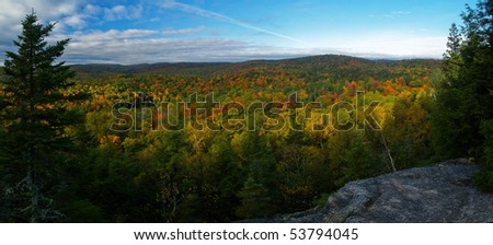 panoramic view of the laurentides in quebec during autumn - stock photo