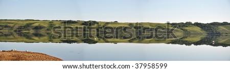 panoramic view of the Manitou beach in Saskatchewan - stock photo
