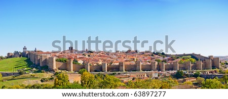 Panoramic view of the medieval fortress of Avila. Spain - stock photo