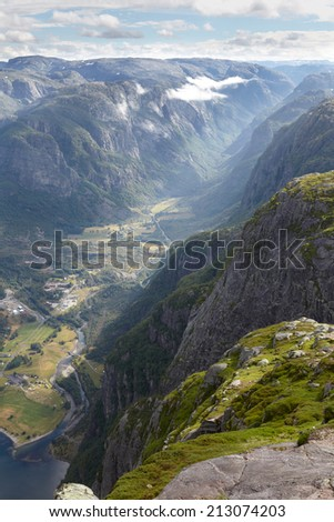 Panoramic view of the mountain valley in Norway - stock photo