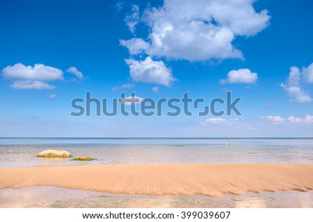 Panoramic view of the ocean and blue sky - stock photo
