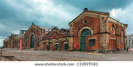 Panoramic view of the Old historical  pump house in Belfast port - stock photo
