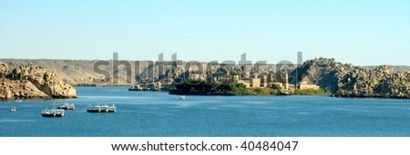 Panoramic view of the Philae Temple island, Aswan, Egypt - stock photo