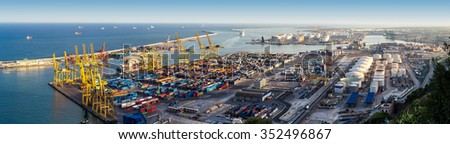 Panoramic view of the port in Barcelona in a summer day - stock photo
