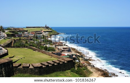 Panoramic view of the Puerto Rico coastline from San Cristobal Fort, Old San Juan - stock photo