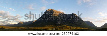 Panoramic view of the region of Glen Coe at sunset, Scotland - stock photo