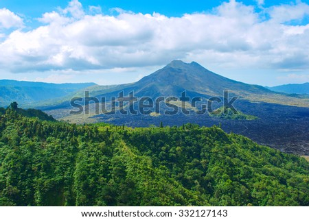 Panoramic view of the sacred mountain in Bali - stock photo