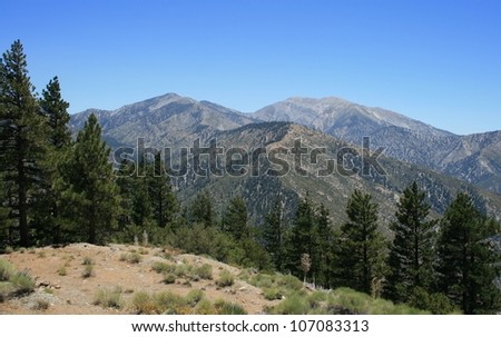 Panoramic view of the San Gabriel Mountains, California - stock photo