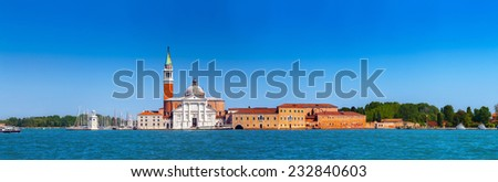 Panoramic view of the San Giorgio Maggiore island, the church and monastery at San Giorgio Maggiore in the lagoon in Venice, Italy. - stock photo