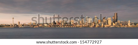 Panoramic view of the Seattle skyline as viewed from Alki Beach Park in Seattle, Washington - stock photo