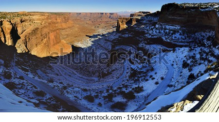panoramic view of the Shafer Canyon in Canyonlands National Park, Utah in winter - stock photo