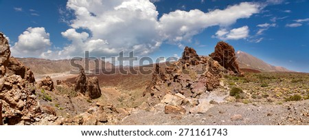panoramic view of the valley in front of the volcano Teide - stock photo