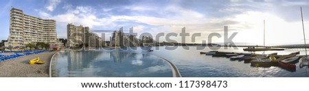 Panoramic view of the world's biggest pool in San Alfonso, Algarrobo, Chile - stock photo