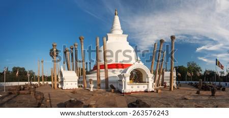 Panoramic view of Thuparama Dagoba in UNESCO, Anuradhapura, Sri Lanka, Asia - stock photo