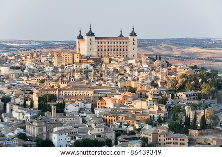 Panoramic view of Toledo and Alcazar, Spain - stock photo