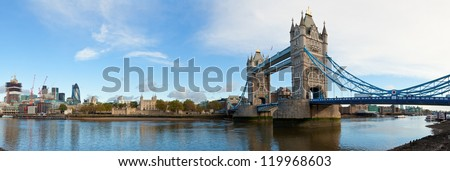 Panoramic view of Tower Bridge in London - stock photo