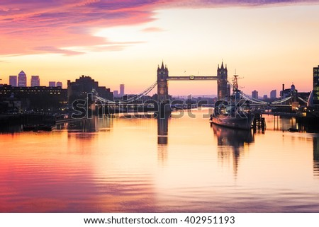 Panoramic view of Tower Bridge in London at sunrise. - stock photo