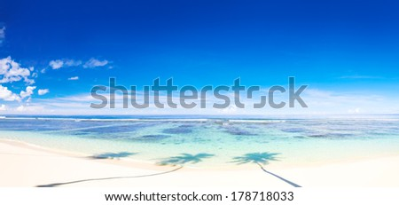 Panoramic View of Tropical Beach and Ocean - stock photo