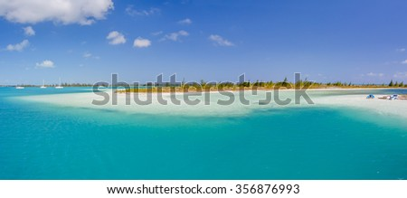 Panoramic view of tropical beach in Cayo Largo Paraiso beach. Cuba - stock photo