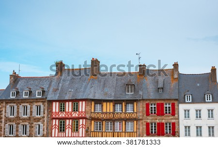 Panoramic view of typical French houses Bretagne - stock photo