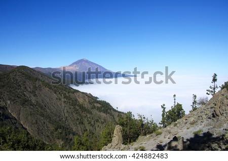 Panoramic view of volcano Teide, Tenerife Canary islands, Spain. - stock photo