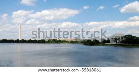 Panoramic view of Washington Monument and Jefferson Memorial in Washington DC - stock photo