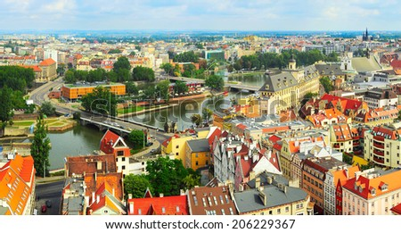 Panoramic view of Wroclaw from  Cathedral of St. John the Baptist. Wroclaw is the historical capital of Silesia. - stock photo