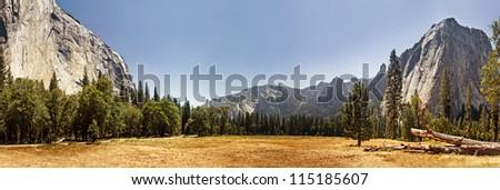 Panoramic view of Yosemite Valley, California - stock photo