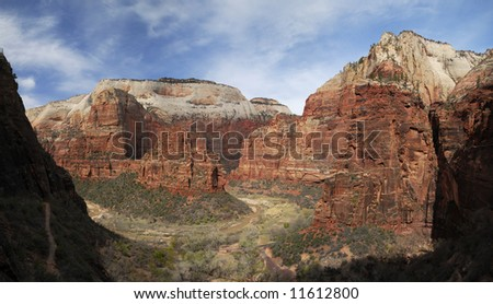 Panoramic view of Zion Canyon at Big Bend - stock photo