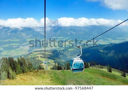 Panoramic view on Austrian Tirol Alps at beautiful sunny summer day - stock photo