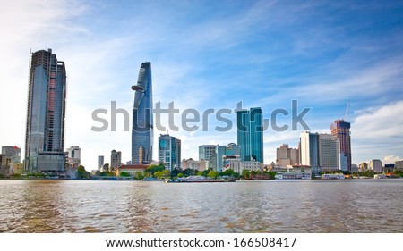 Panoramic view on Business center in Ho Chi Minh City (Saigon), Vietnam. - stock photo