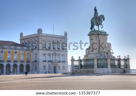 Panoramic view on Commerce Square and statue of King Jose I in Lisbon, Portugal - stock photo