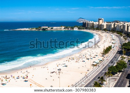 Panoramic view on Copacabana beach with city skyline of Rio de Janeiro, Brazil. - stock photo