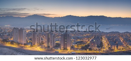 Panoramic view on Eilat (Israel ) and Aqaba (Jordan) - stock photo