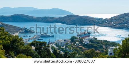 Panoramic view on Ios island harbor, Greece - stock photo