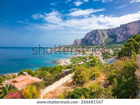 Panoramic view on Mondello bay in Palermo, Sicily. Italy. - stock photo