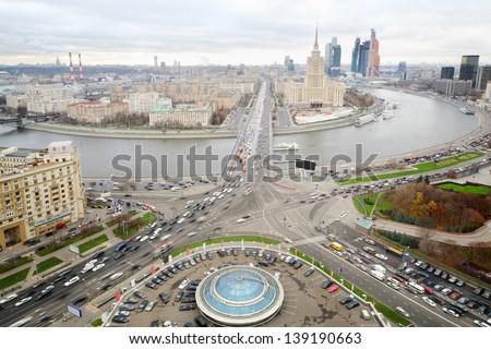 Panoramic view on Moskva river, Novoarbatsky bridge and hotel Ukraine in Moscow, Russia. - stock photo