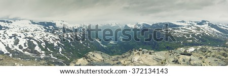 Panoramic View On Norway Mountain Landscape, Dalsnibba - Nibbevegen, Norway - stock photo
