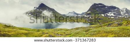 Panoramic View On Norway Mountain LandscapeOdda, Norway - stock photo