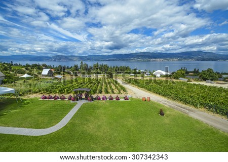 Panoramic view on Okanagan lake with winery vineyard in the front and blue sky background. Kelowna, British Columbia. - stock photo